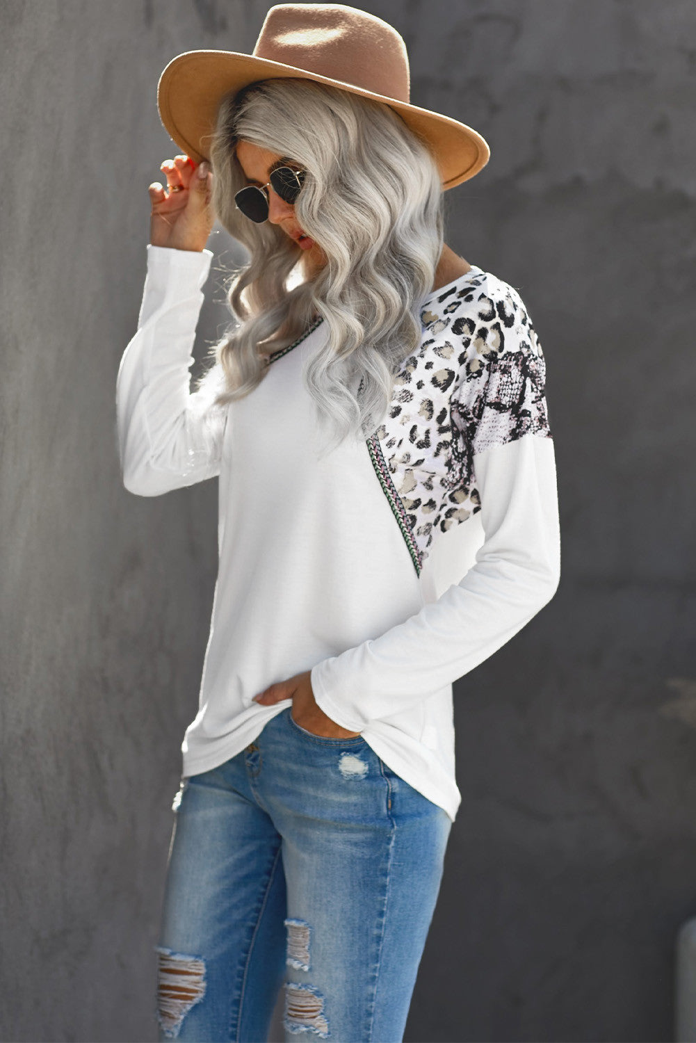 White Long Sleeve Top With Leopard Snakeskin Print