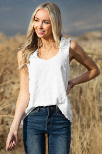 Swiss Dot Woven Sleeveless Top With Ruffled Straps