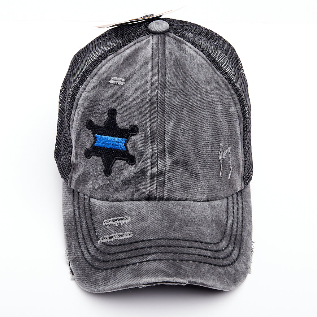 Thin Blue Line Star Badge Criss Cross High Ponytail Hat