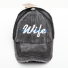 Thin Blue Line Wife Criss Cross High Ponytail Hat