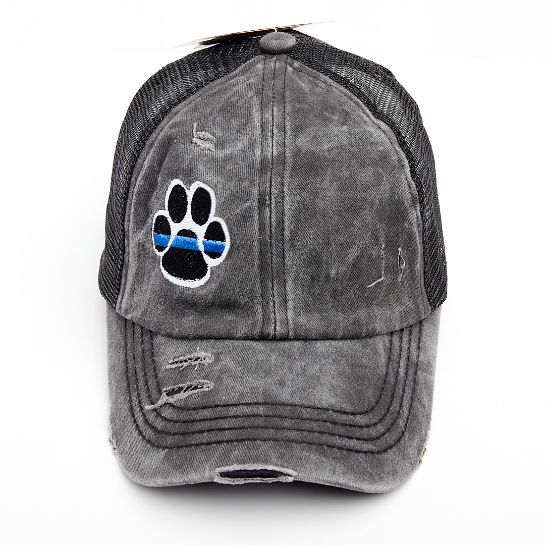 Thin Blue Line Dog Paw Criss Cross High Ponytail Hat
