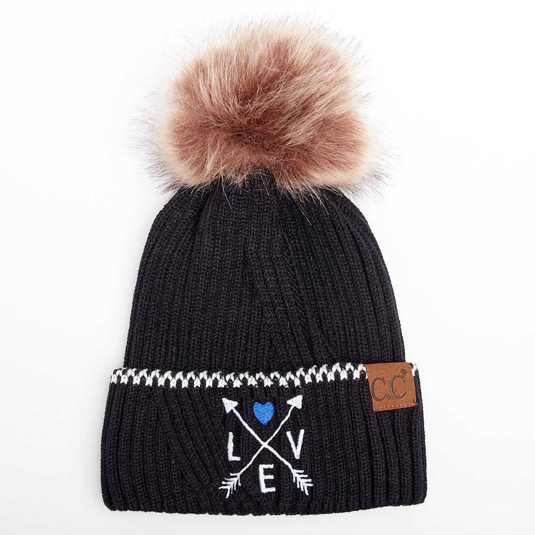 Thin Blue Line Love Arrows Ribbed Knit Beanie With Accented Cuff