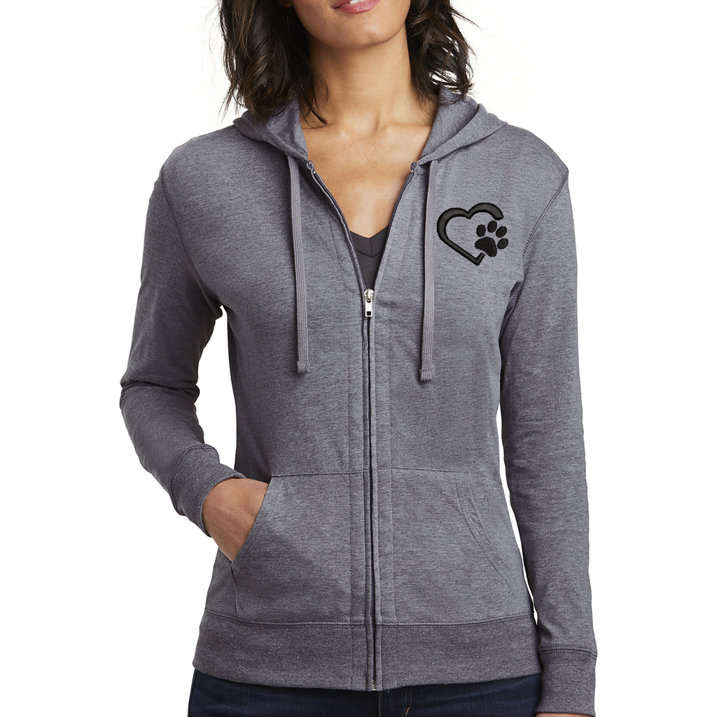 Heart Paw Women's Fitted Jersey Full-Zip Hoodie