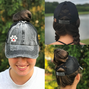 Dog Paw Heart Ponytail Criss Cross Hat