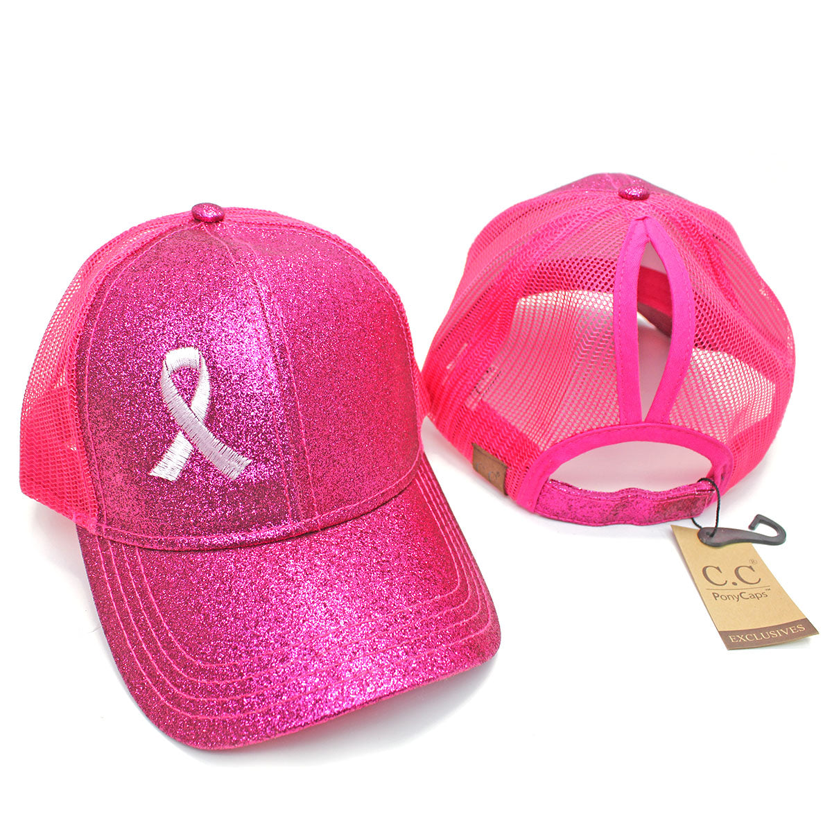 Ponytail Pink Ribbon Glitter Hat