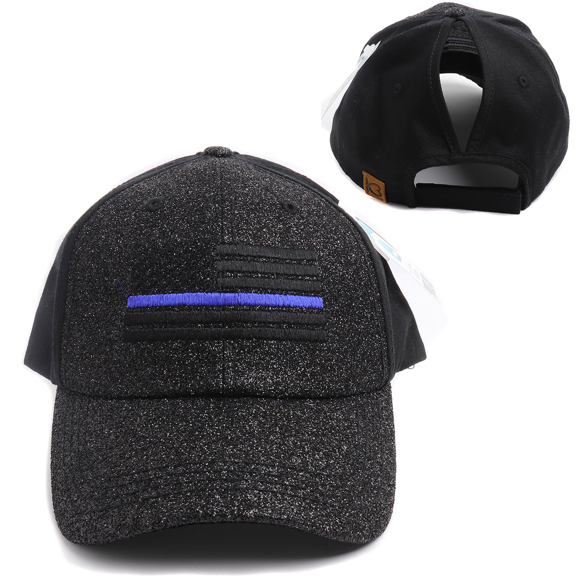 New Thin Blue Line Glitter & Cotton Women's High Ponytail Hat