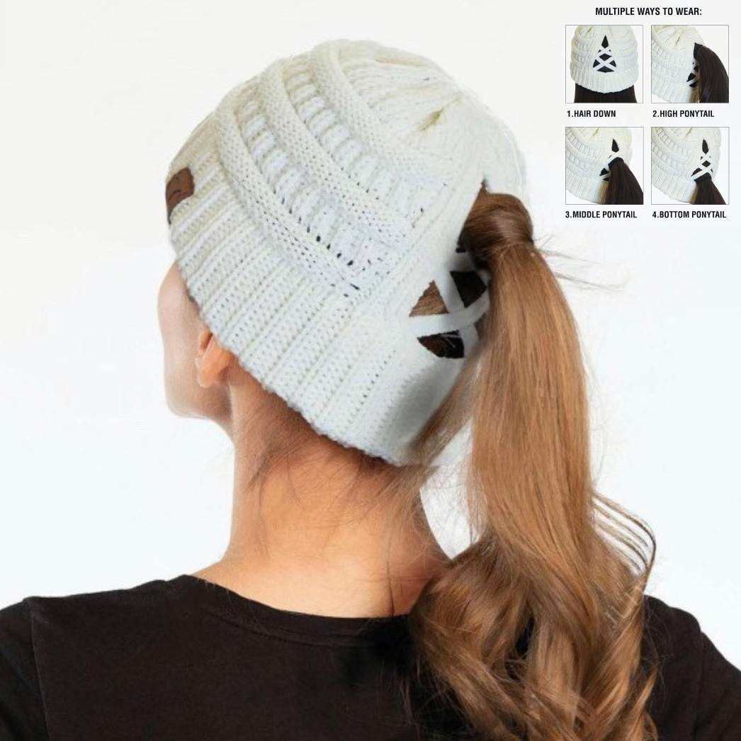 Ribbed Knit Beanie Criss-Cross Ponytail