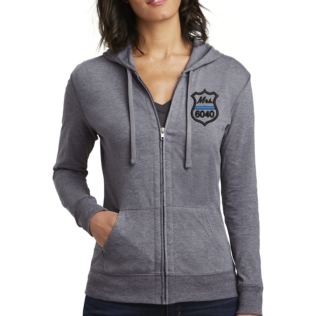 Thin Blue Line Badge Women's Fitted Jersey Full-Zip Hoodie