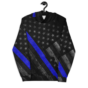 Thin Blue Line Distressed Unisex Hoodie
