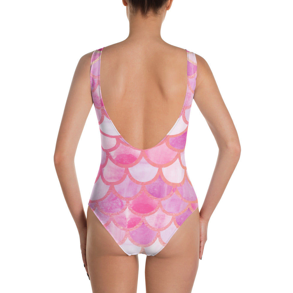 Pink Scaled One-Piece Swimsuit