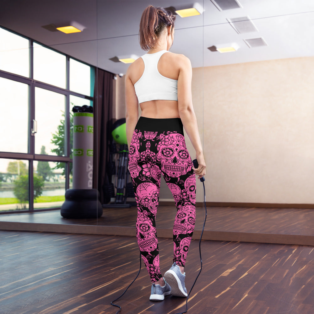 Pink Sugar Skull Yoga Leggings