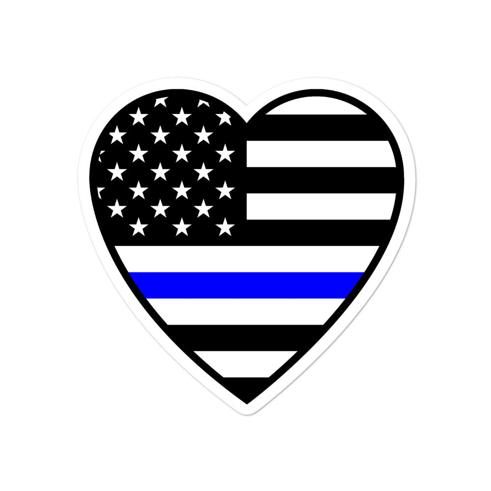 Thin Blue Line Heart Bubble-free stickers