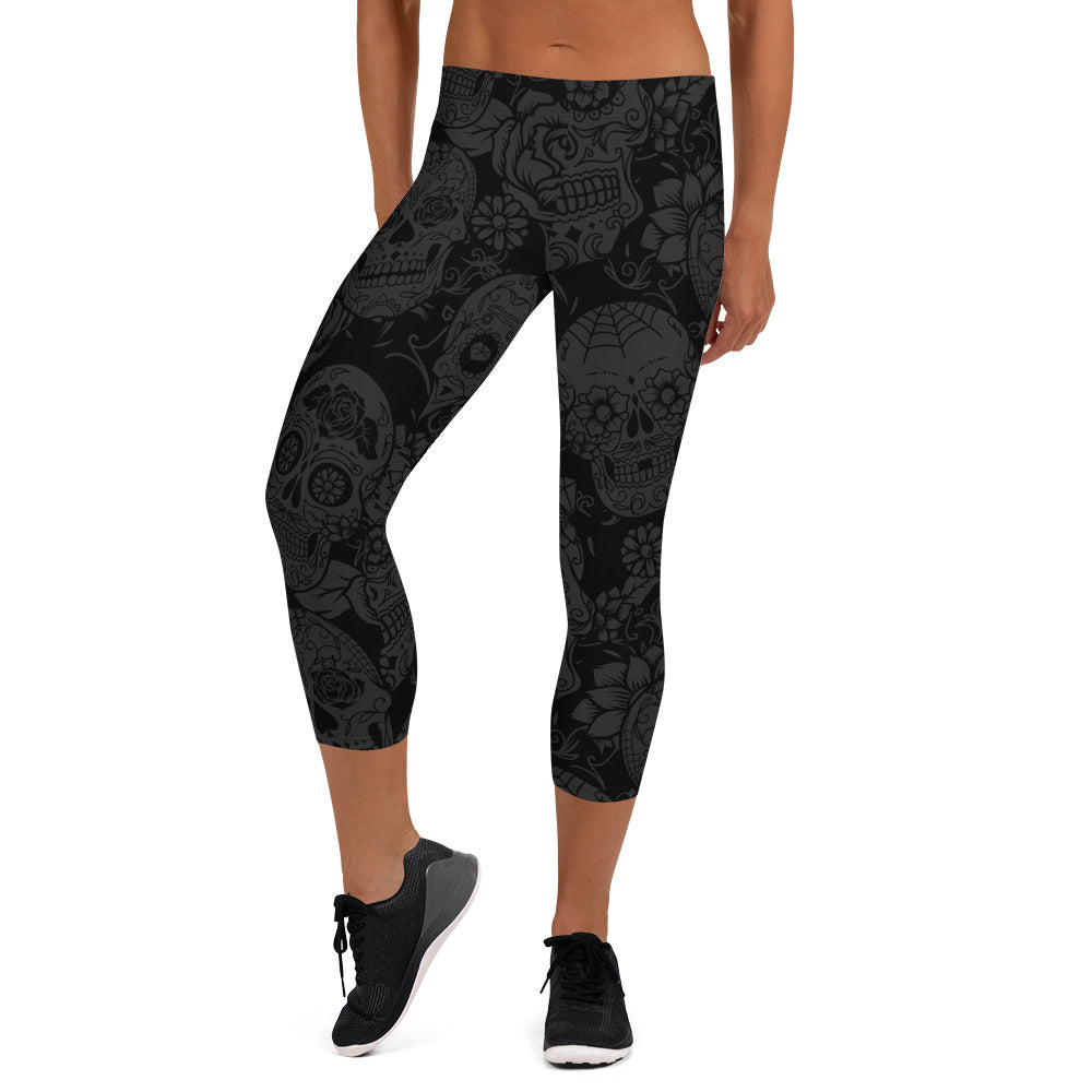 Dark Skull Capri Leggings