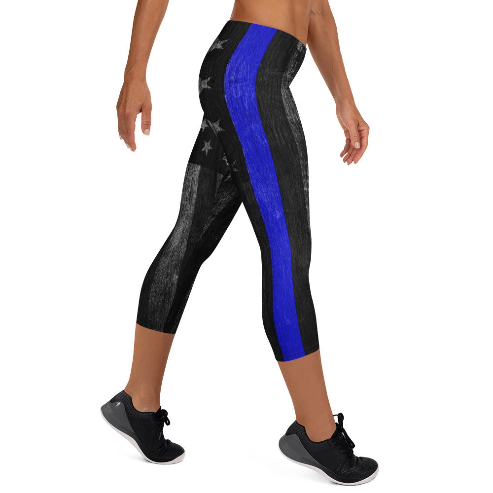Distressed Thin Blue Line Capri Leggings
