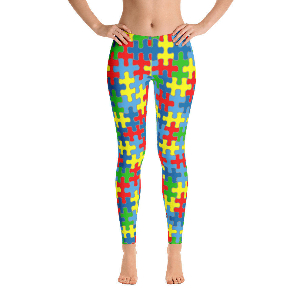Colorful Puzzle Piece Autism Awareness Leggings
