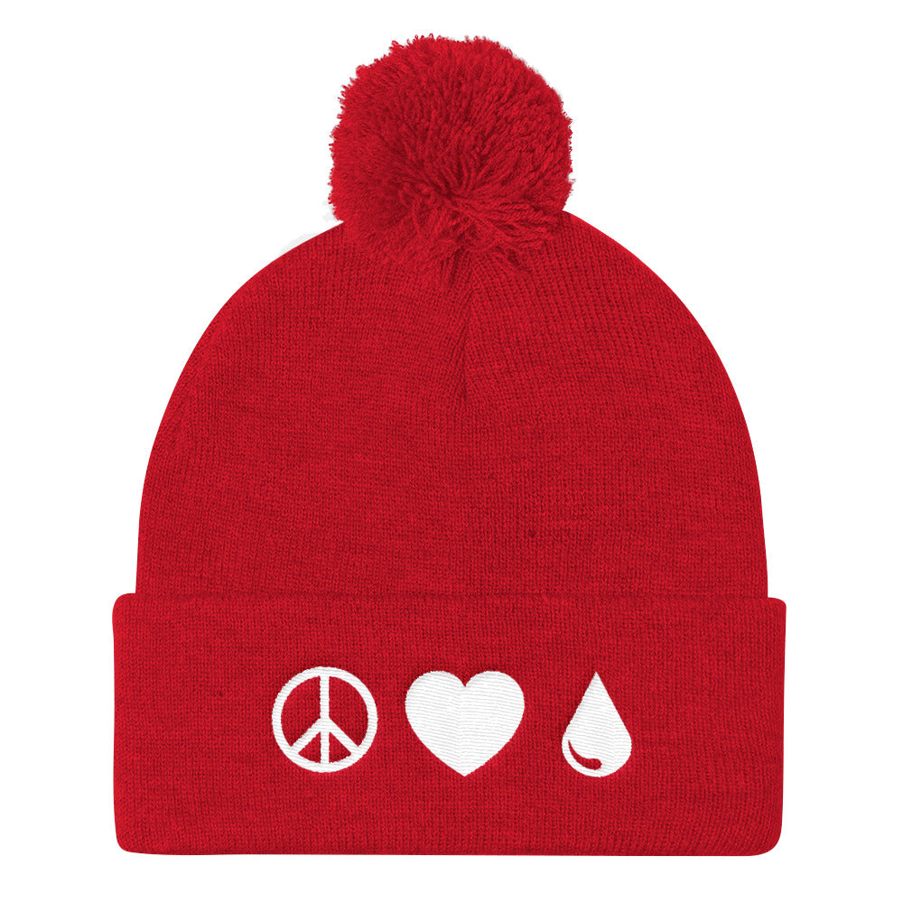 Peace Love Oils Pom Pom Knit Cap