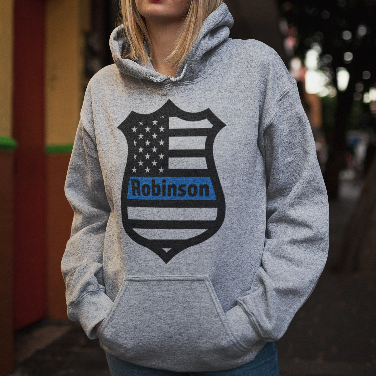 Custom Police Badge Flag Unisex Hoodie