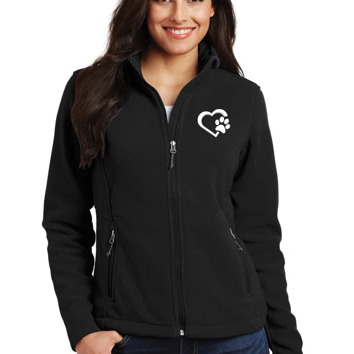 Ladies Microfleece Heart Paw Jacket