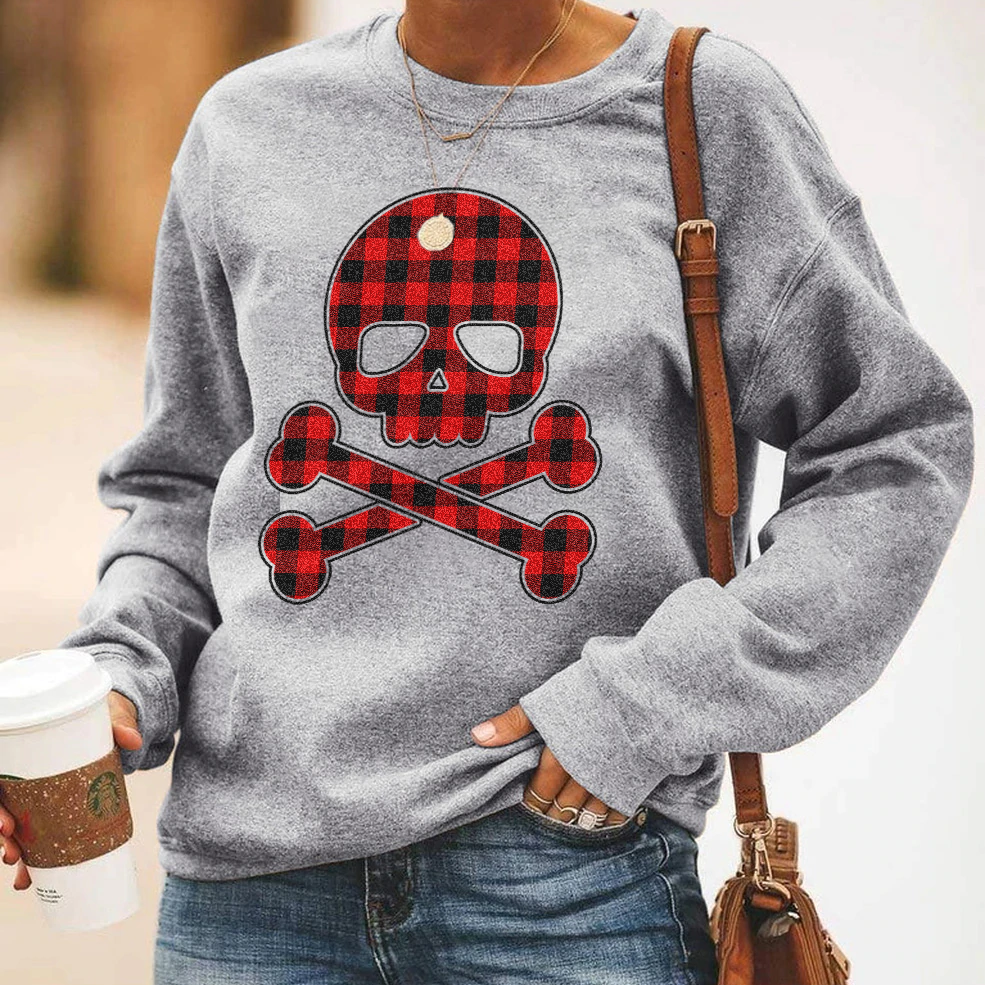 Plaid Skull & Crossbones Sweatshirt