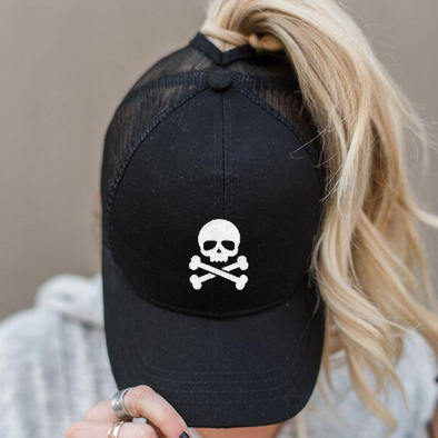 Ponytail Skull & Crossbones Hat