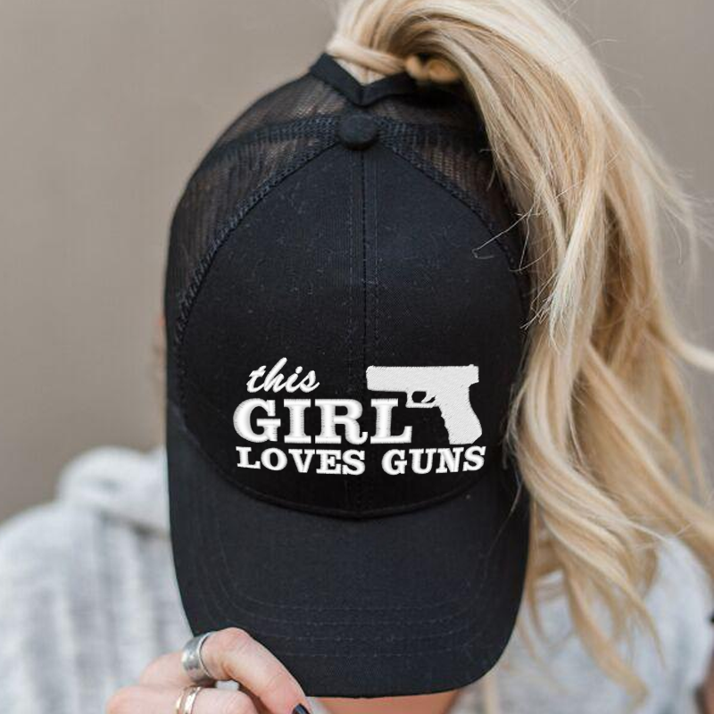 Ponytail This Girl Loves Guns Hat