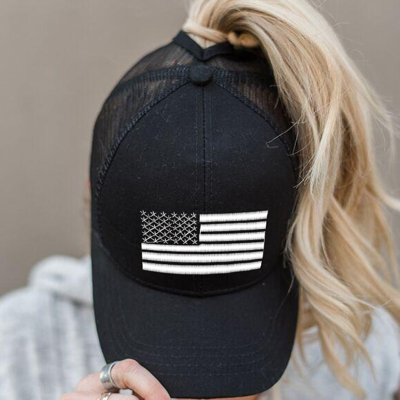 Ponytail White American Flag Hat