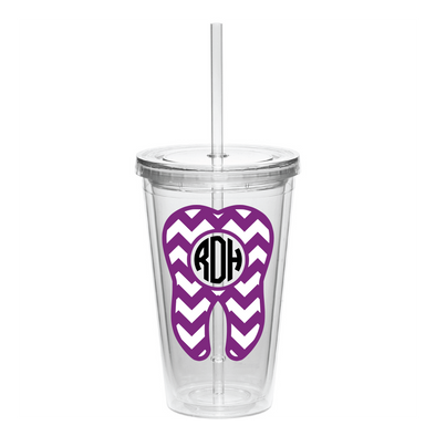 Chevron Dental Monogram Tooth Tumbler 16 oz