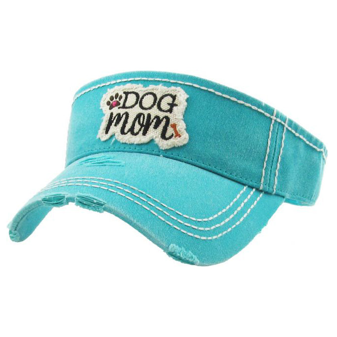 Dog Mom Washed Vintage Sun Visor