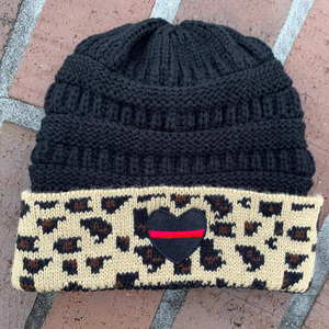 Thin Red Line Heart Black Knitted Leopard Beanie