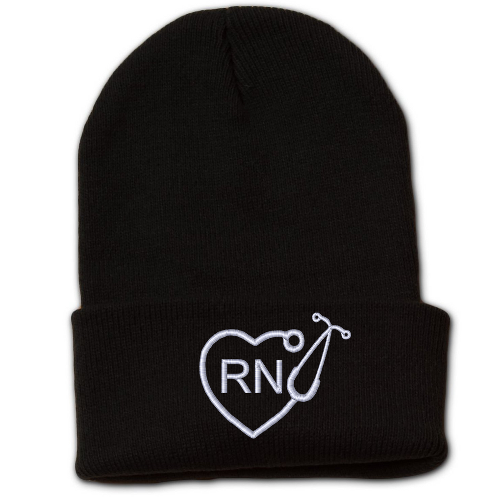 RN Heart Stethoscope Beanie with Cuff