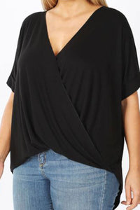 PLUS SIZE BLACK RAYON CREPE DRAPED FRONT TOP