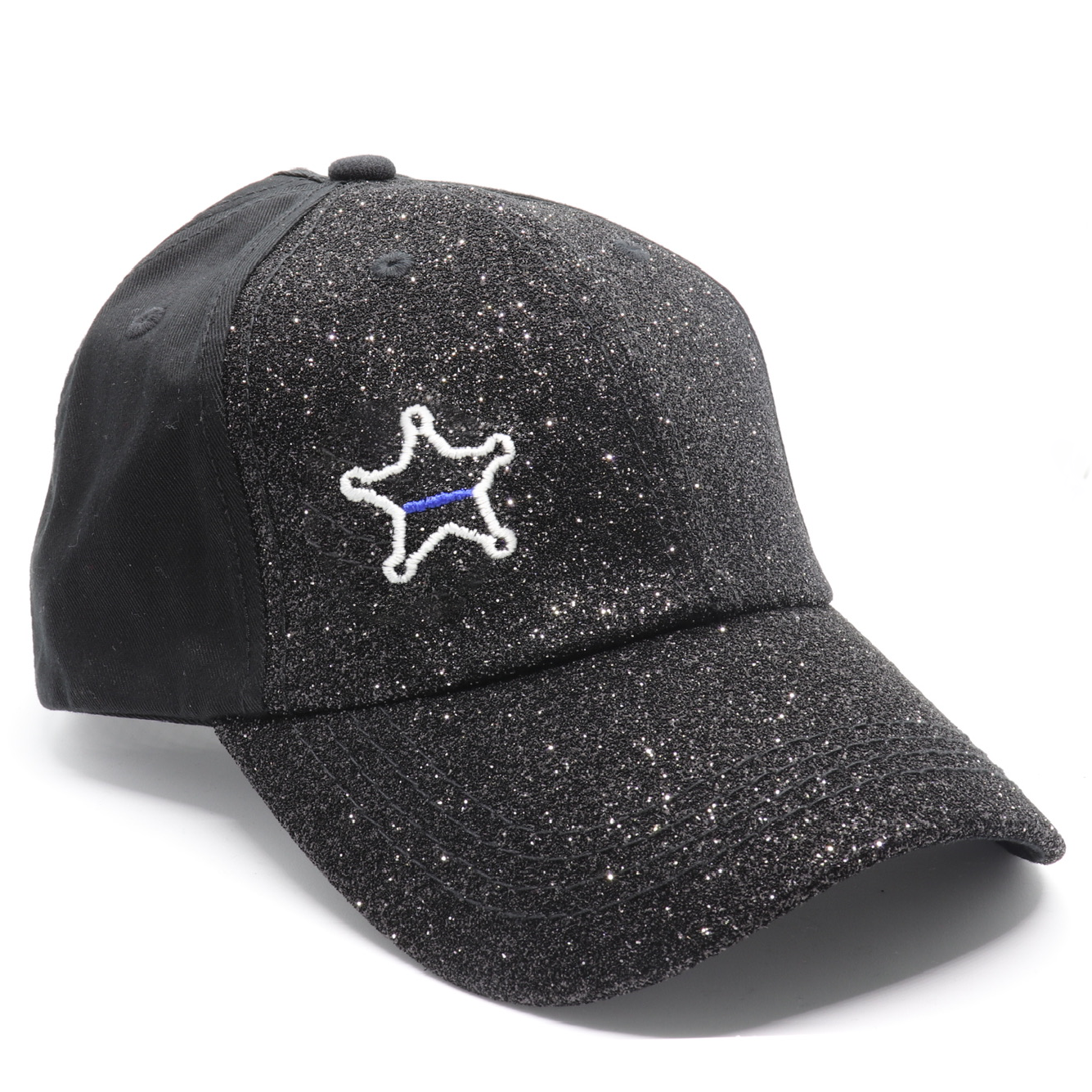 Glitter Thin Blue Line Sheriff Badge Women's  Ponytail Hat