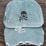 Skull Distressed Baseball Hat Adjustable Metal Closure-Light Denim