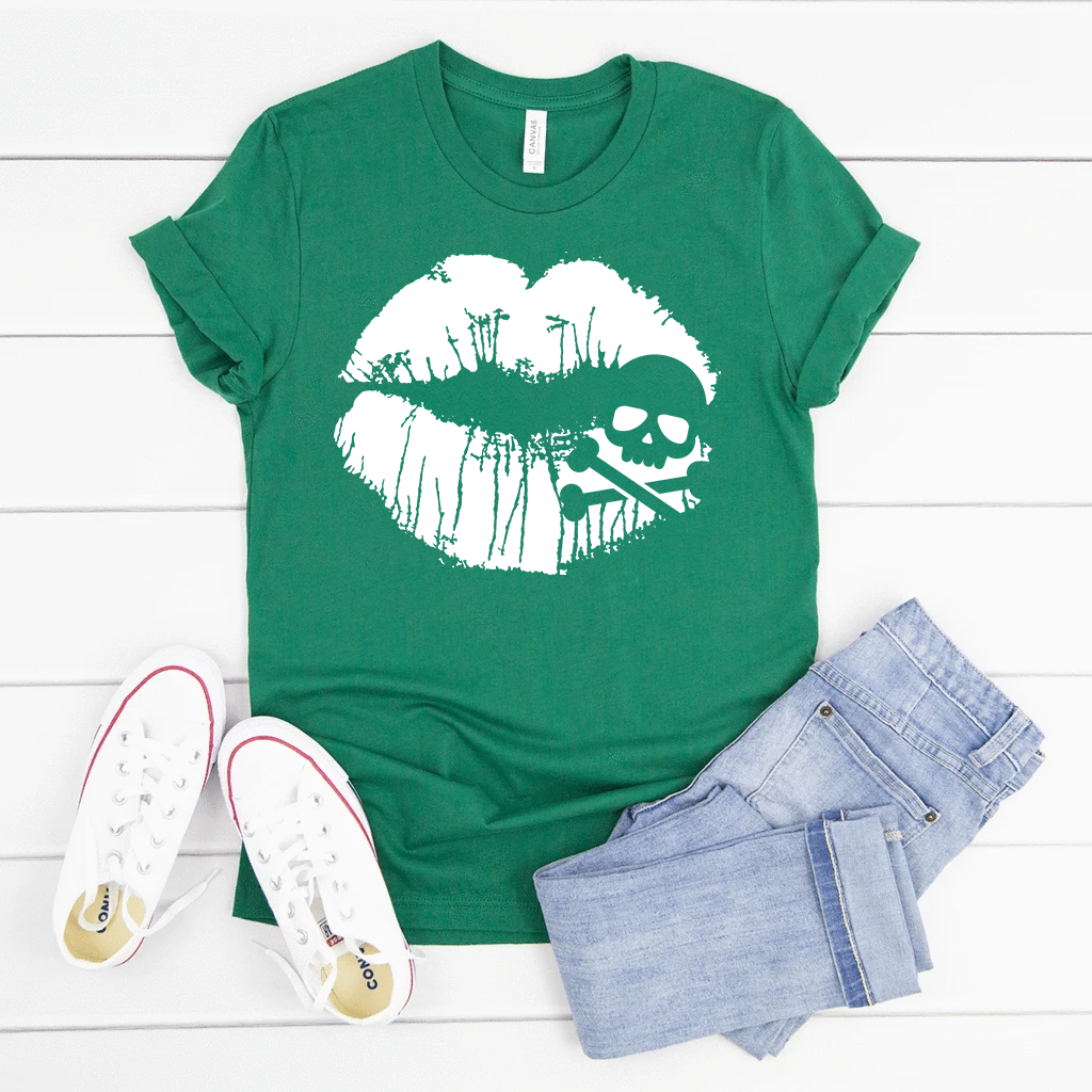 Skull & Crossbones Lips Short Sleeve T-Shirt