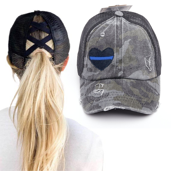 Thin Blue Line Heart Washed Denim Criss Cross High Pony Ball Cap