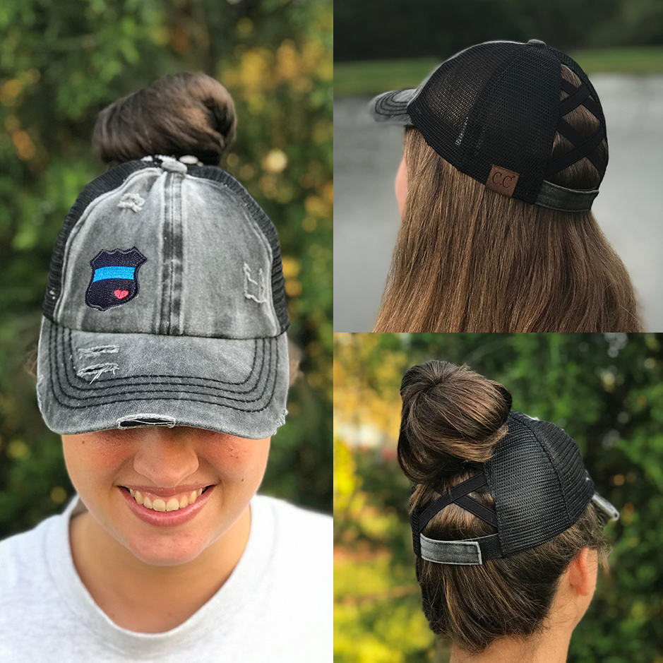 Thin Blue Line Badge Heart Criss Cross High Ponytail Hat