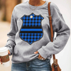 Plaid Thin Blue Line Badge Sweatshirt