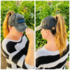 Thin Blue Line Flag Criss Cross Ponytail Hat