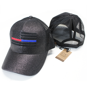 Thin Red/Blue Line American Flag Women's Ponytail Mesh Glitter Hat