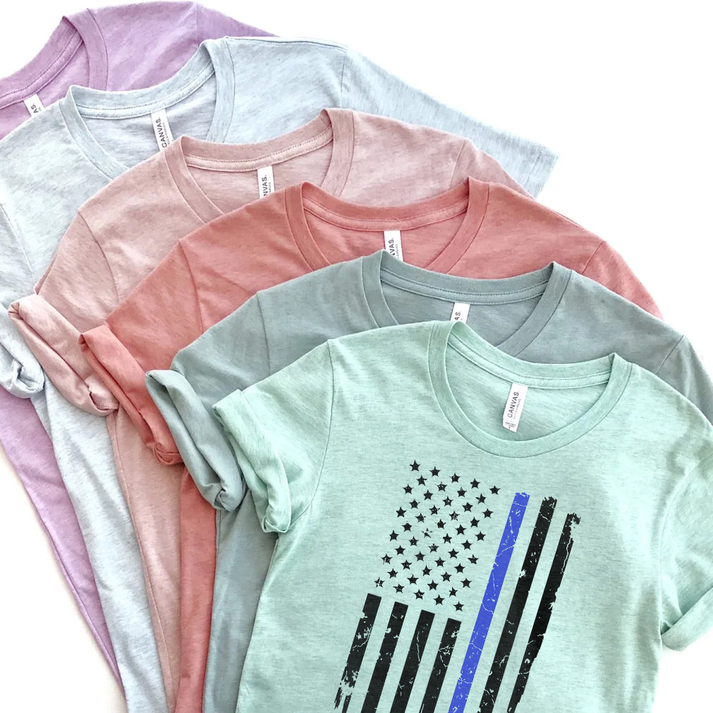 Thin Blue Line Distressed Flag Prism Tees