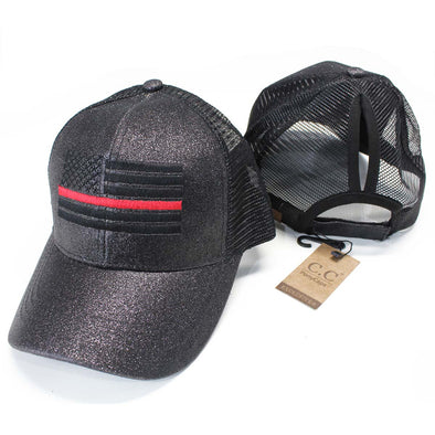 Ponytail Thin Red Line Flag Glitter Hat