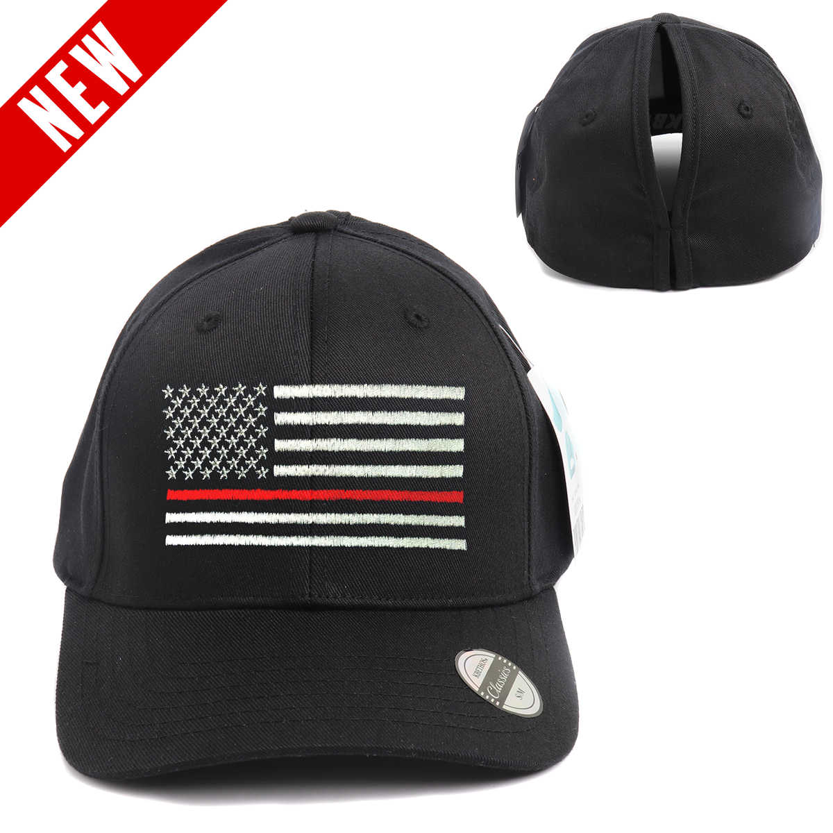 Thin Red Line Flag Ponytail Spandex Headband Hat