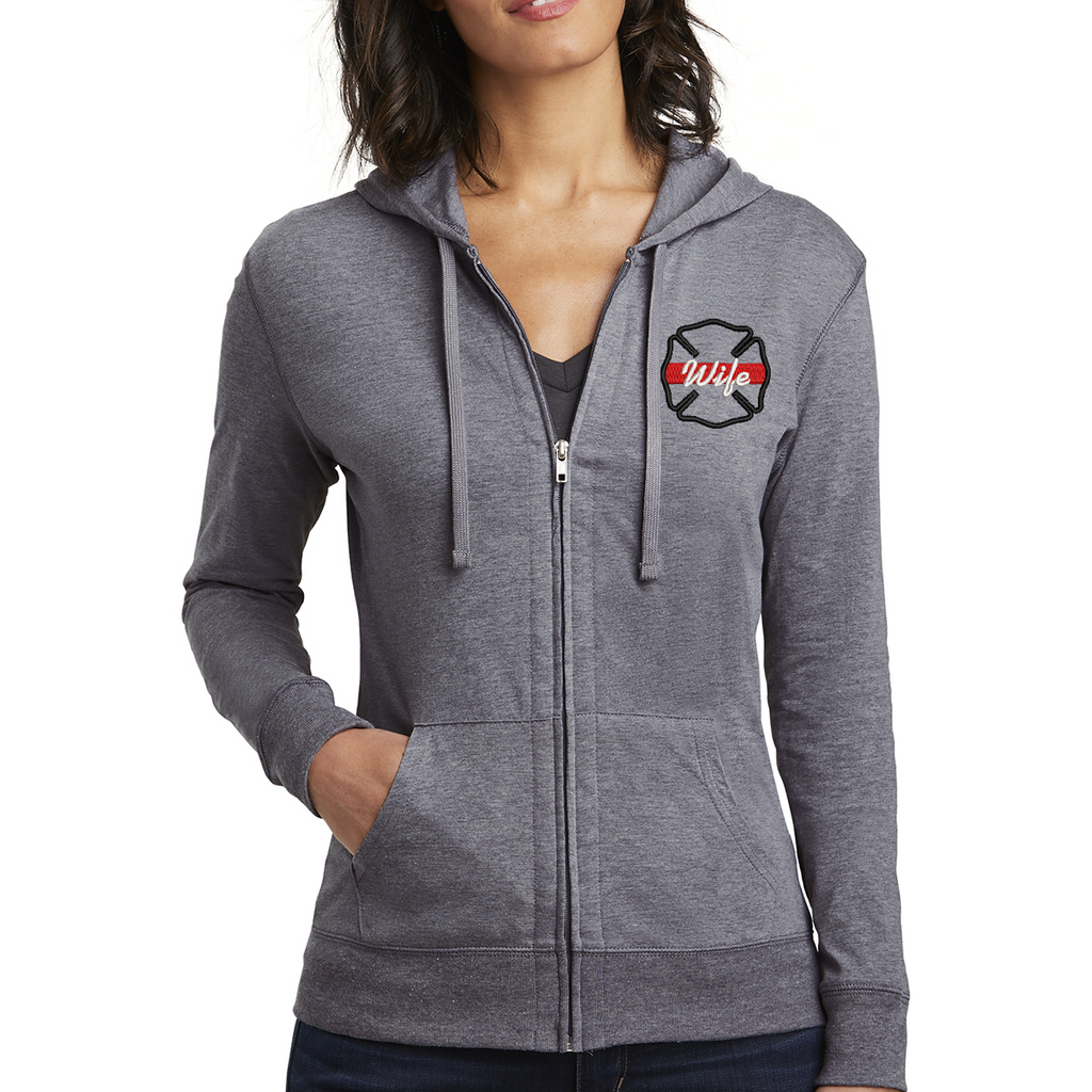 Thin Red Line Maltese Women's Fitted Jersey Full-Zip Hoodie