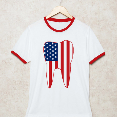 Tooth Flag Ringer T-Shirt