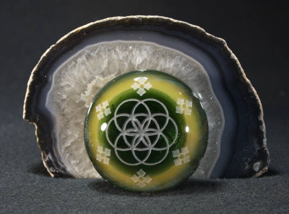 "JUBA Glass Double-Sided, Sacred-Geometric ""Chameleon Intaglio"" Cabochon"