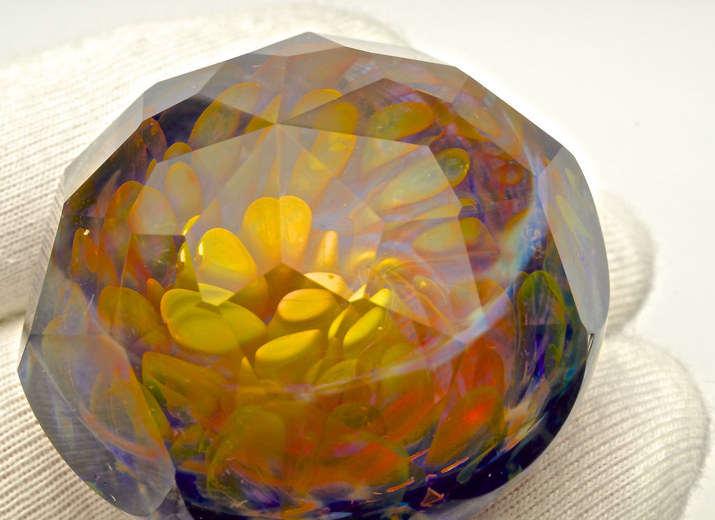 "Sasha Hess x Jesse Dodge ""Fractal Fumilation"" Series Faceted Cabochon/Paperweight Collab"