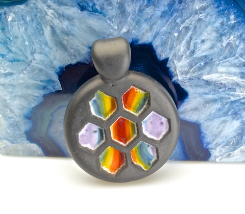 Jameson Siudut One-of-a-Kind Rainbow Honeycomb Pendant