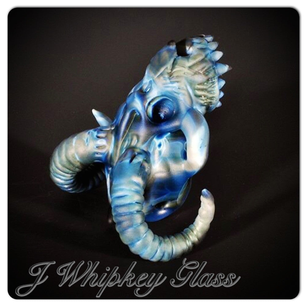 "J. Whipkey Glass ""Ol' Blue"" Sculptural Pendant"