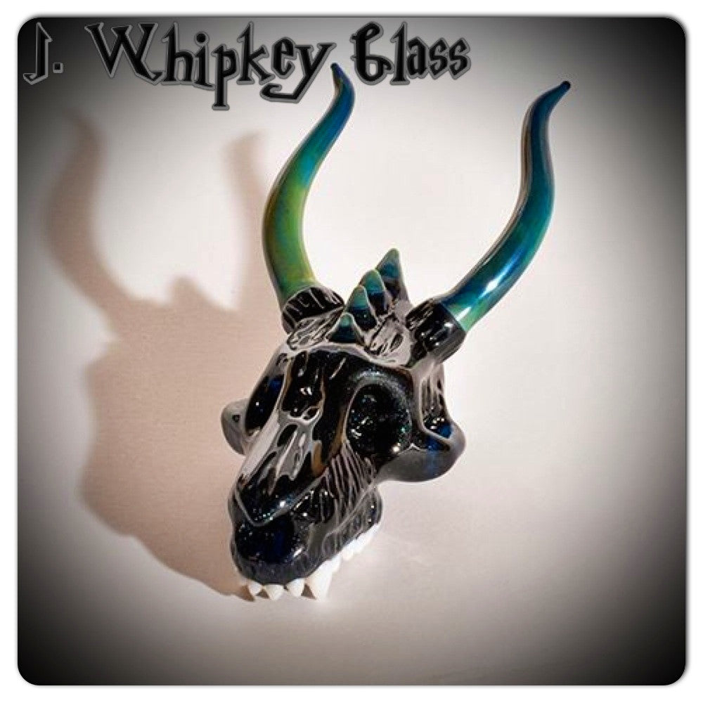 "J. Whipkey Glass ""Blue Stardust Dragon"" Sculptural Skull Pendant"