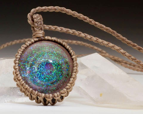 "Northern Lights ""Dichro-Wormhole"" Adjustable Pendant and Necklace"